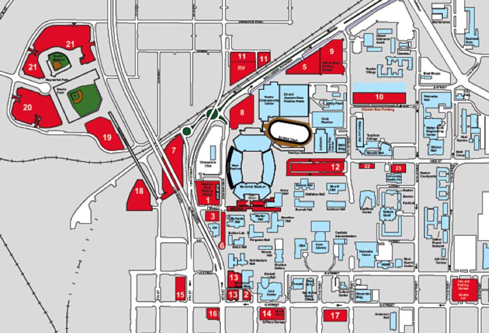 2013 Parking Map Commencement Nebraska