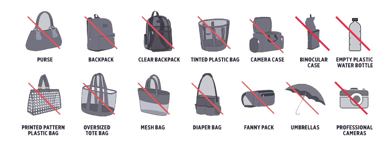 Illustrations of prohibited bags
