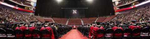 Graduates seated at Pinnacle Bank Arena