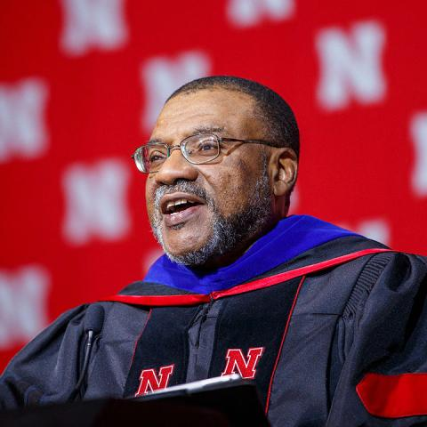 Kwame Dawes speaks at commencement