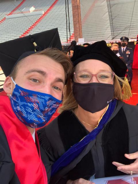 Graduate selfie with faculty member